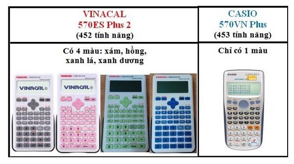 casio fx 570vn plus và vinacal 570es plus ii