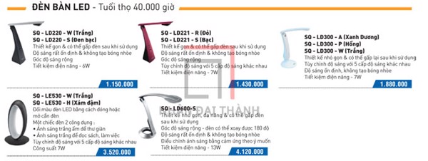 Catalogue Đèn bàn Led Panasonic