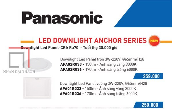 * Catalogue Đèn led downlight anchor Panel