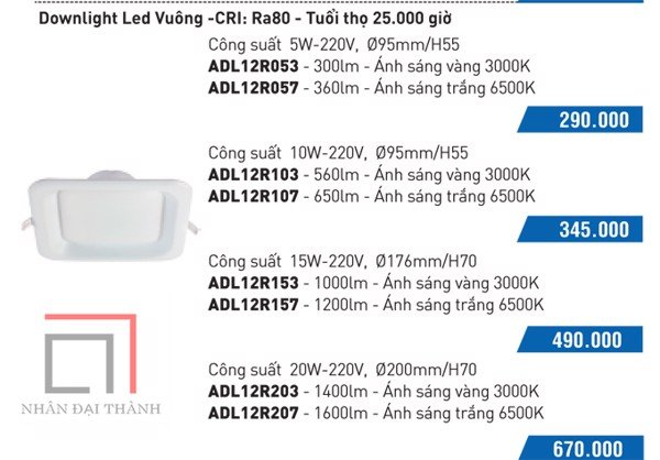 * Catalogue Đèn led downlight anchor vuông: