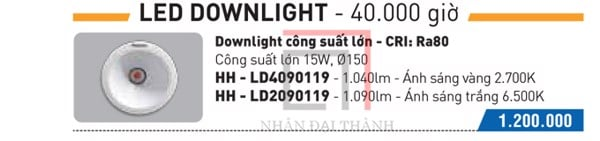 Catalogue của Đèn Led Downlight Panasonic