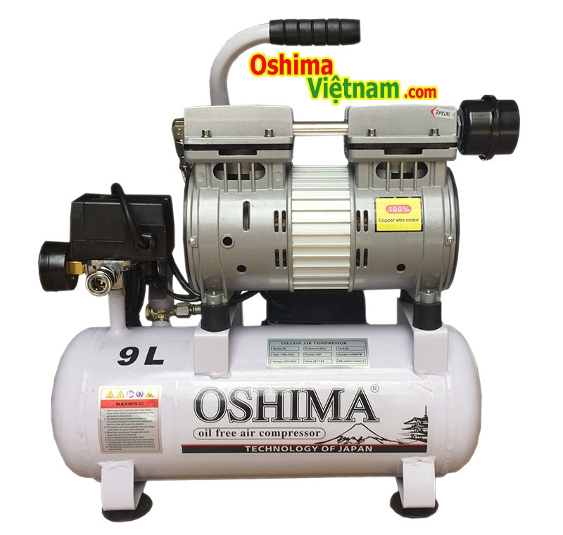 Máy nén khí không dầu oshima 9L - trang