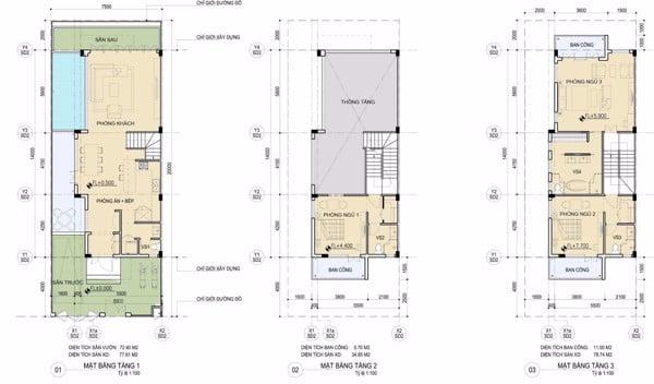 mặt bằng tầng 1-2-3 biệt thự song lập