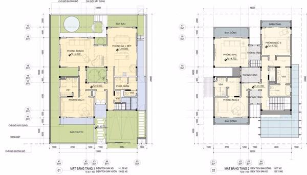mặt bằng tầng 1 và tầng 2 của biệt thự