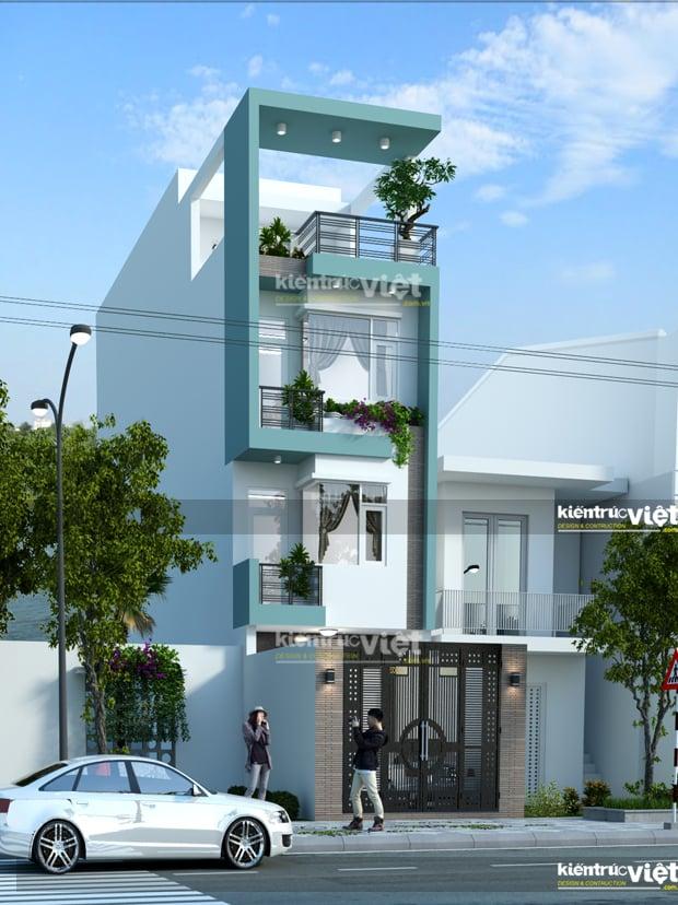 Thiết kế nhà 3 tầng, nhà phố hiện đại 4x13