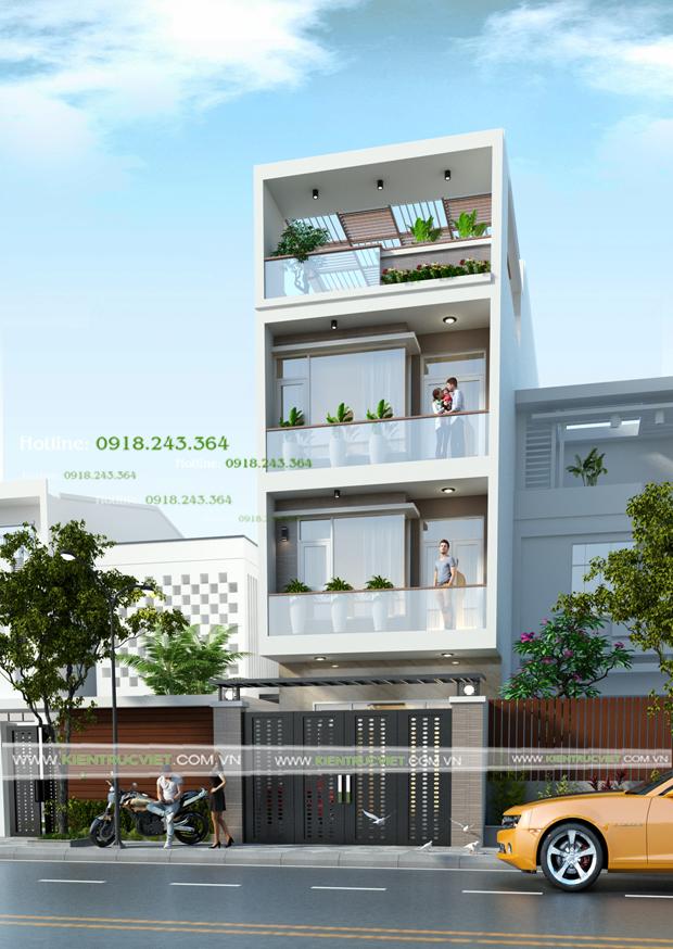 Thiết kế nhà phố 4 tầng 5x20 Dĩ An, Bình Dương