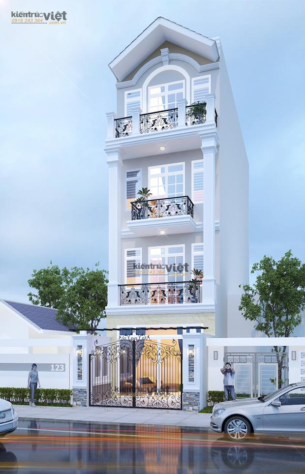 Thiết kế nhà phố 5x16, kiến trúc bán cổ điển năm 2017