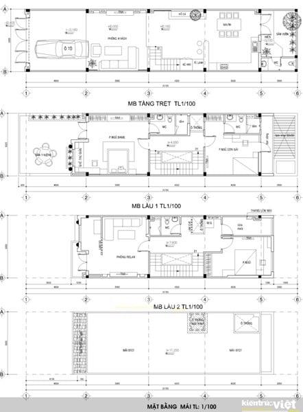 Thiết kế và xin phép xây dựng Nhà phô 5mx20m năm 2017