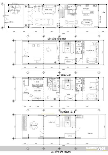 mặt bằng kiến trúc nhà 5x20