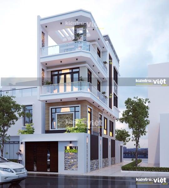 Mẫu nhà phố 2 mặt tiền 3 lâu, xây dựng 4,5m x 13,5m