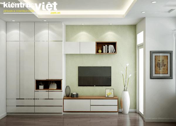 Không gian phòng khách và nhà bếp được tách biệt bằng một chiếc bàn ăn nhỏ dành cho 2 người, một sự bố trí thông minh khi kết hợp cả 3 không gian phòng khách, phòng ăn và nhà bếp trong một diện tích nhỏ