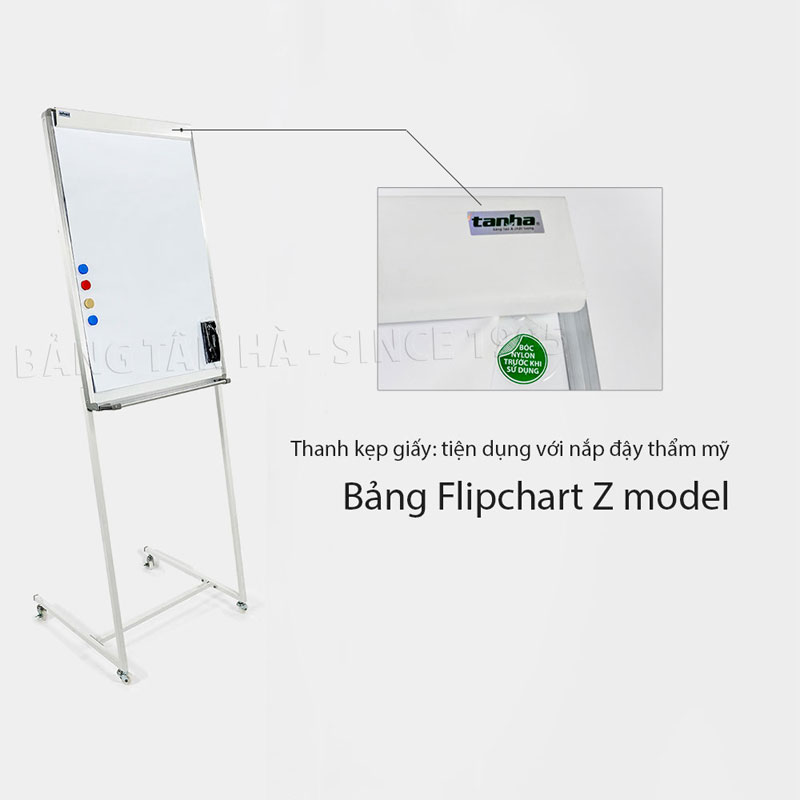 Bảng Flipchart Zebra - Thanh kẹp giấy tiện dụng