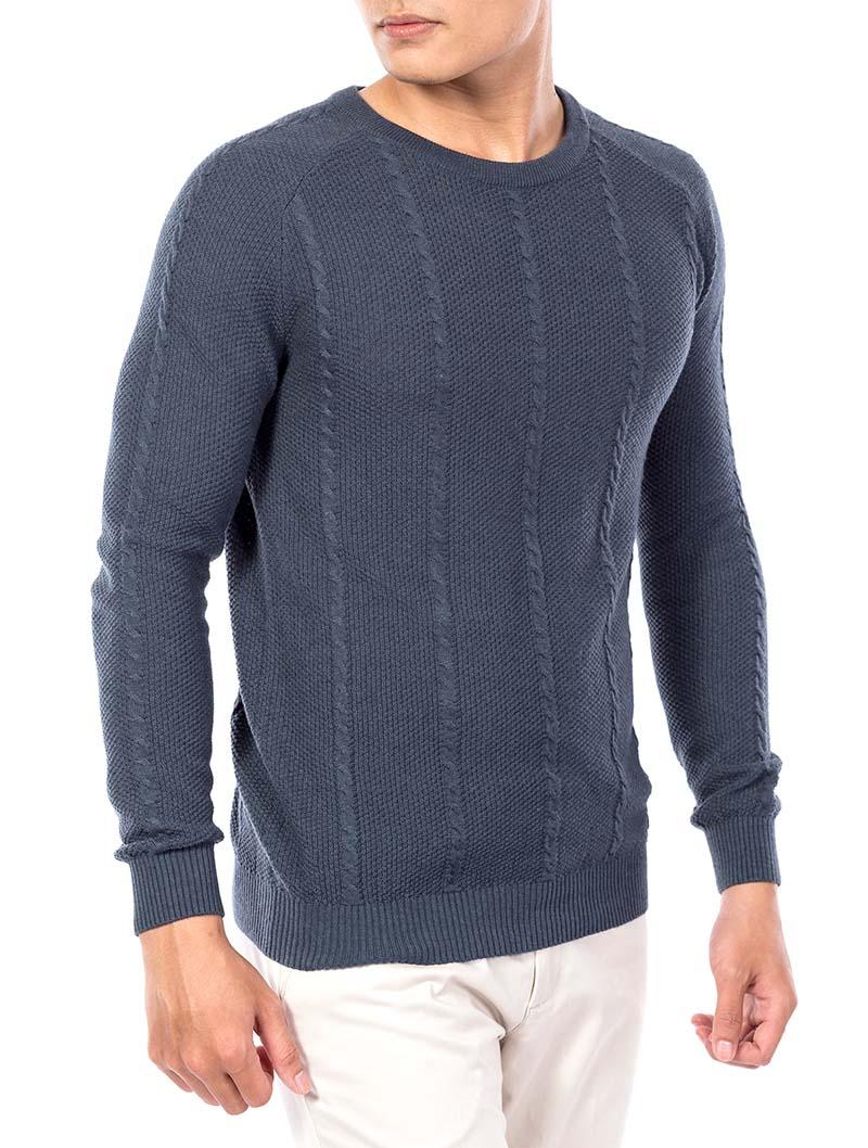 áo len nam aristino màu đá rêu, họa tiết đường vân nam tính