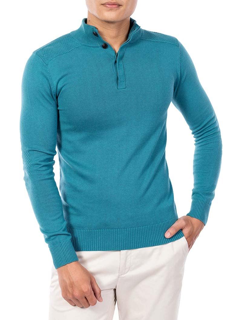 áo aristino - áo len cho nam màu xanh cổ ba phân