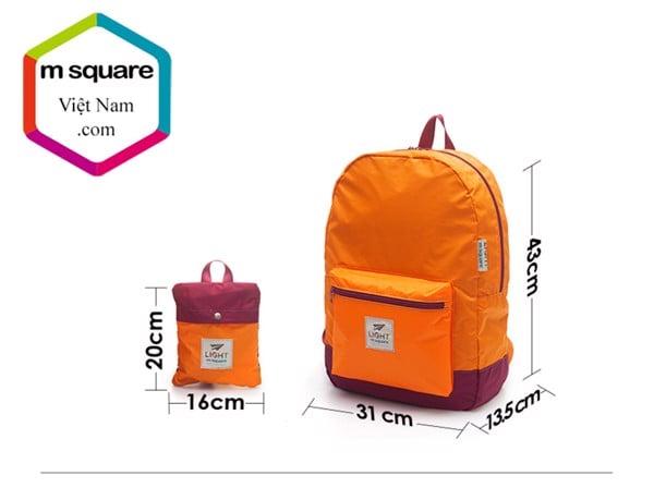 kích thước balo du lịch gấp gọn msquare light ms0511
