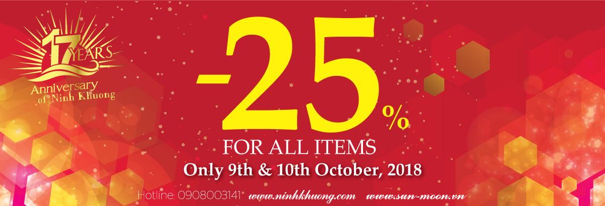 Rộn ràng sinh nhật Ninh Khương ưu đãi 25% tất cả sản phẩm.