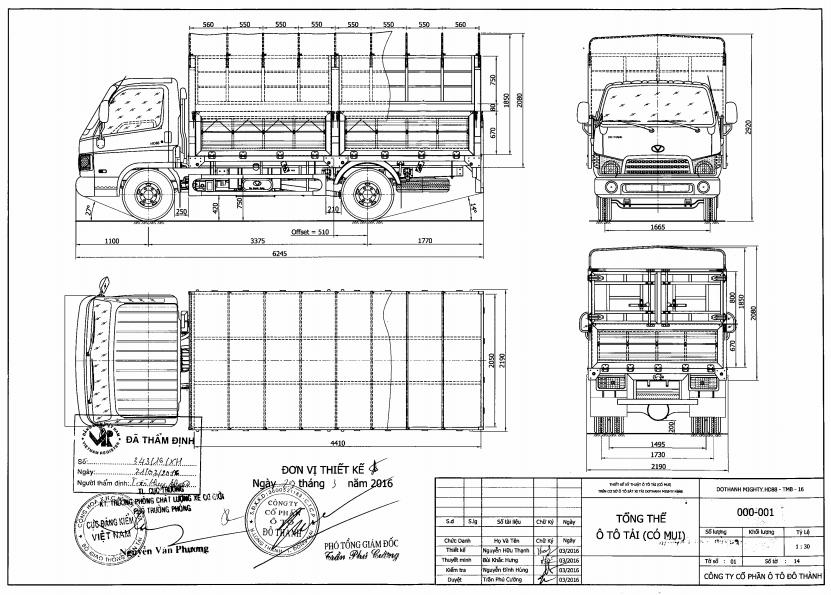 bản vẽ Hyundai HD88 5 tấn thùng bạt