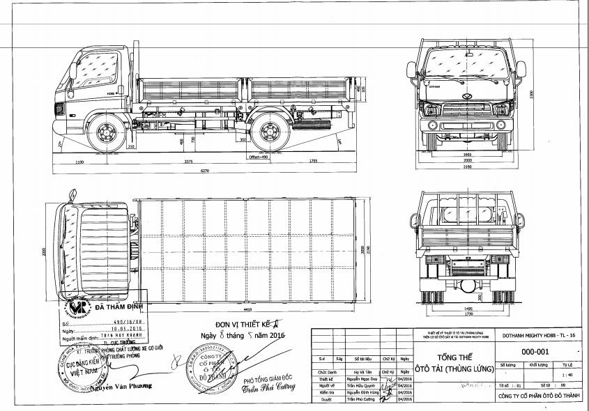 Bản vẽ Hyundai HD88 thùng lửng