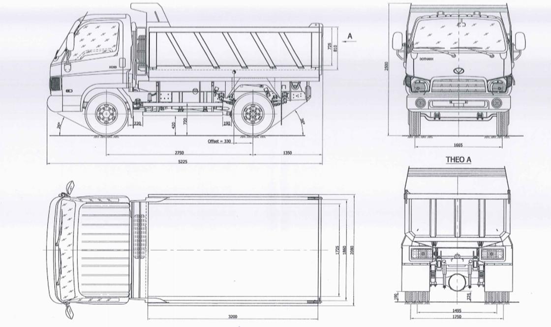 bản vẽ xe ben hyundai 6 tấn hd9 d60