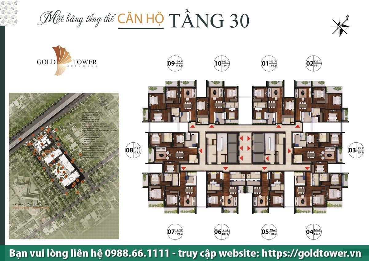Mặt bằng tầng điển hình dự án Gold Tower 275 Nguyễn Trãi