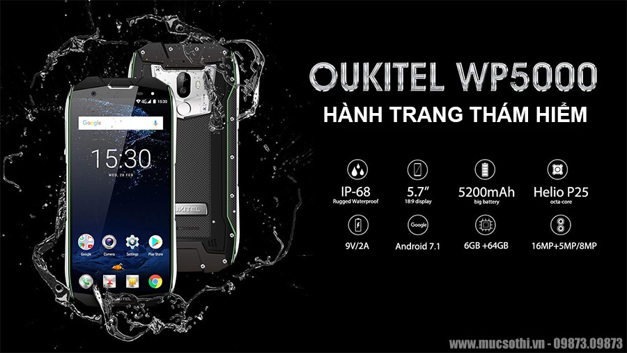 smartphonestore.vn - chuyên phân phối lẻ giá sỉ, online giá tốt smartphone siêu bền oukitel wp5000 chính hãng - 09175.09195