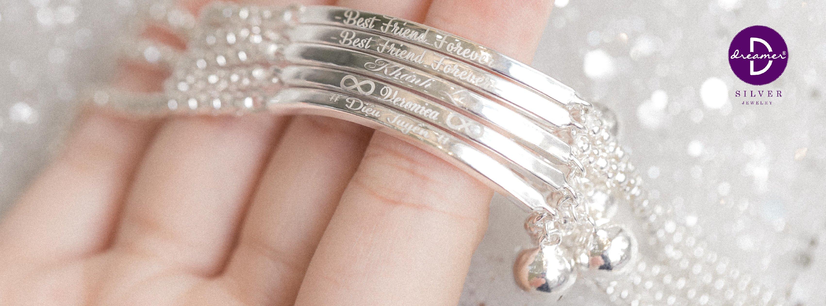 Vòng tay bạc Khắc chữ