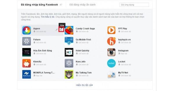 Hướng dẫn xóa các ứng dụng kết nối với facebook bạn