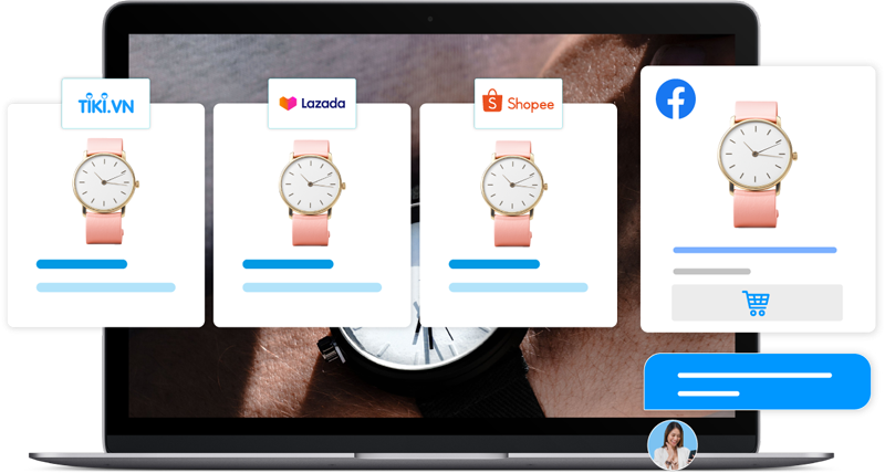Tiếp cận hàng triệu khách hàng tiềm năng trên Facebook, Lazada, Tiki và Shopee nhanh chóng và hiệu quả