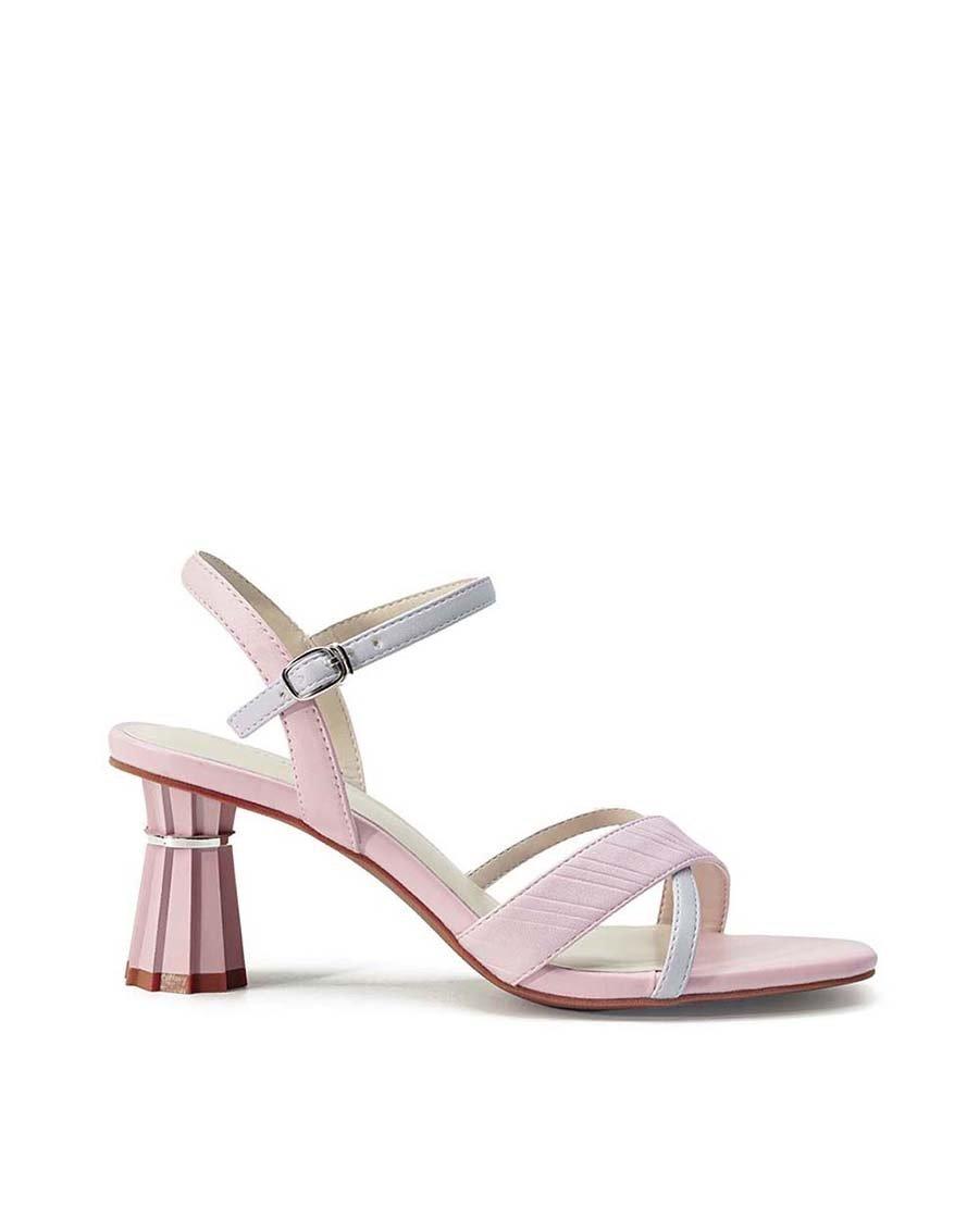 Giày Sandal Gót Trụ Điêu Khắc