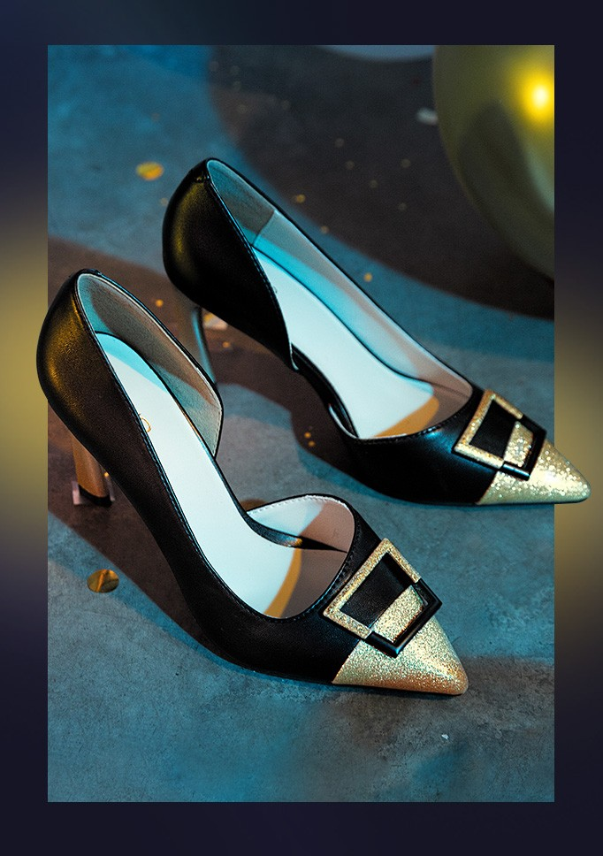 Giày cao gót mũi nhọn phối si tương phản