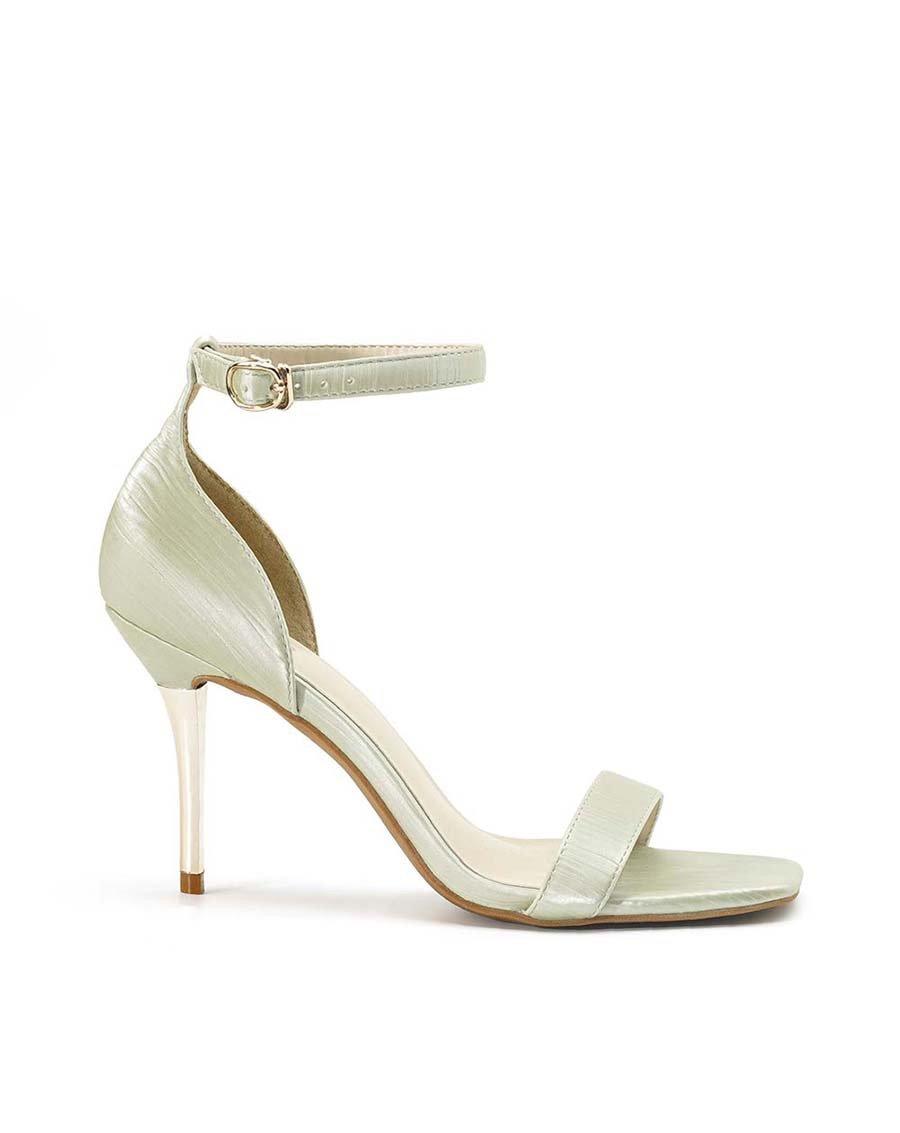 Giày Sandal Gót Thanh Phối Si Dập Ly