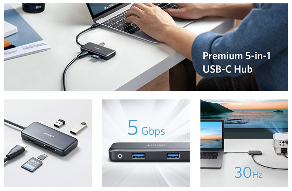 Anker USB C Hub, 5-in-1 USB C Adapter