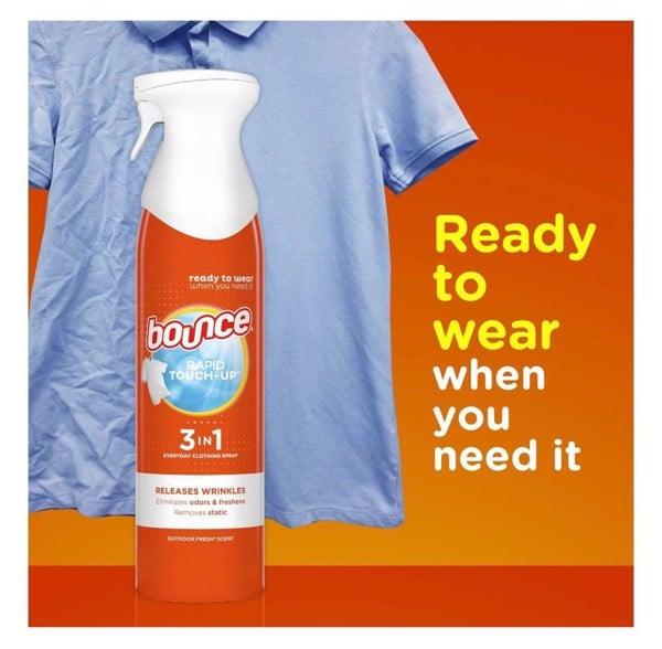 Chai xịt chống nhăn và khử mùi quần áo Bounce Rapid Touch-up