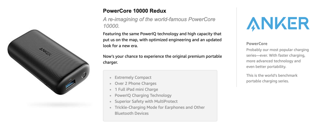 Pin Anker PowerCore 10000 Redux