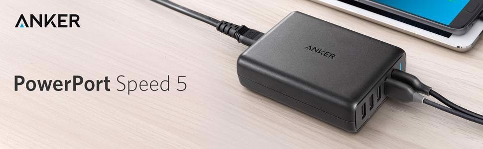 Sạc Anker 5 cổng 63w, 2 cổng Quick Charge 3.0 [Powerport Speed 5, 63W]