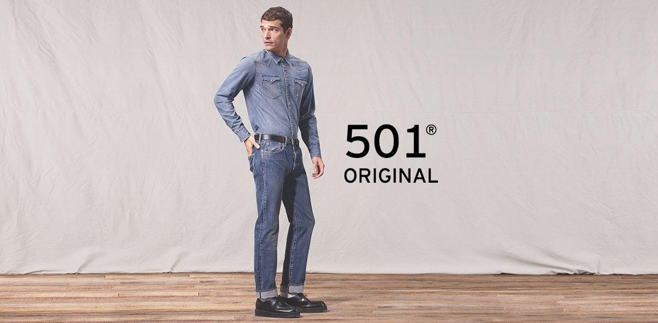 STRAIGHT FIT 501® ORIGINAL • Cạp quần ở eo • Cúc cài • Ống dưới dáng suống thẳng