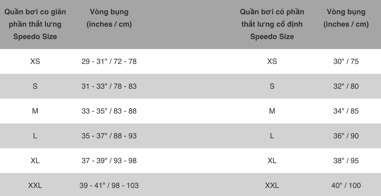 Bảng chọn size quần bơi nam Speedo @ ULA Vietnam - Premium Online Shopping