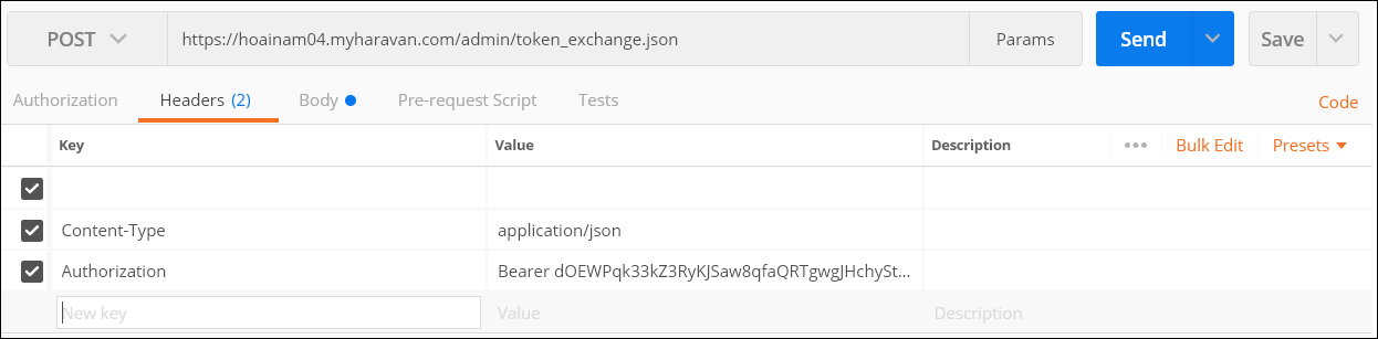 API EXCHANGE TOKEN