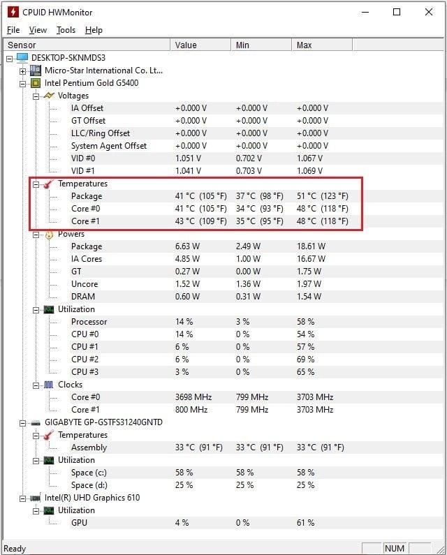 kiểm tra nhiệt độ CPU