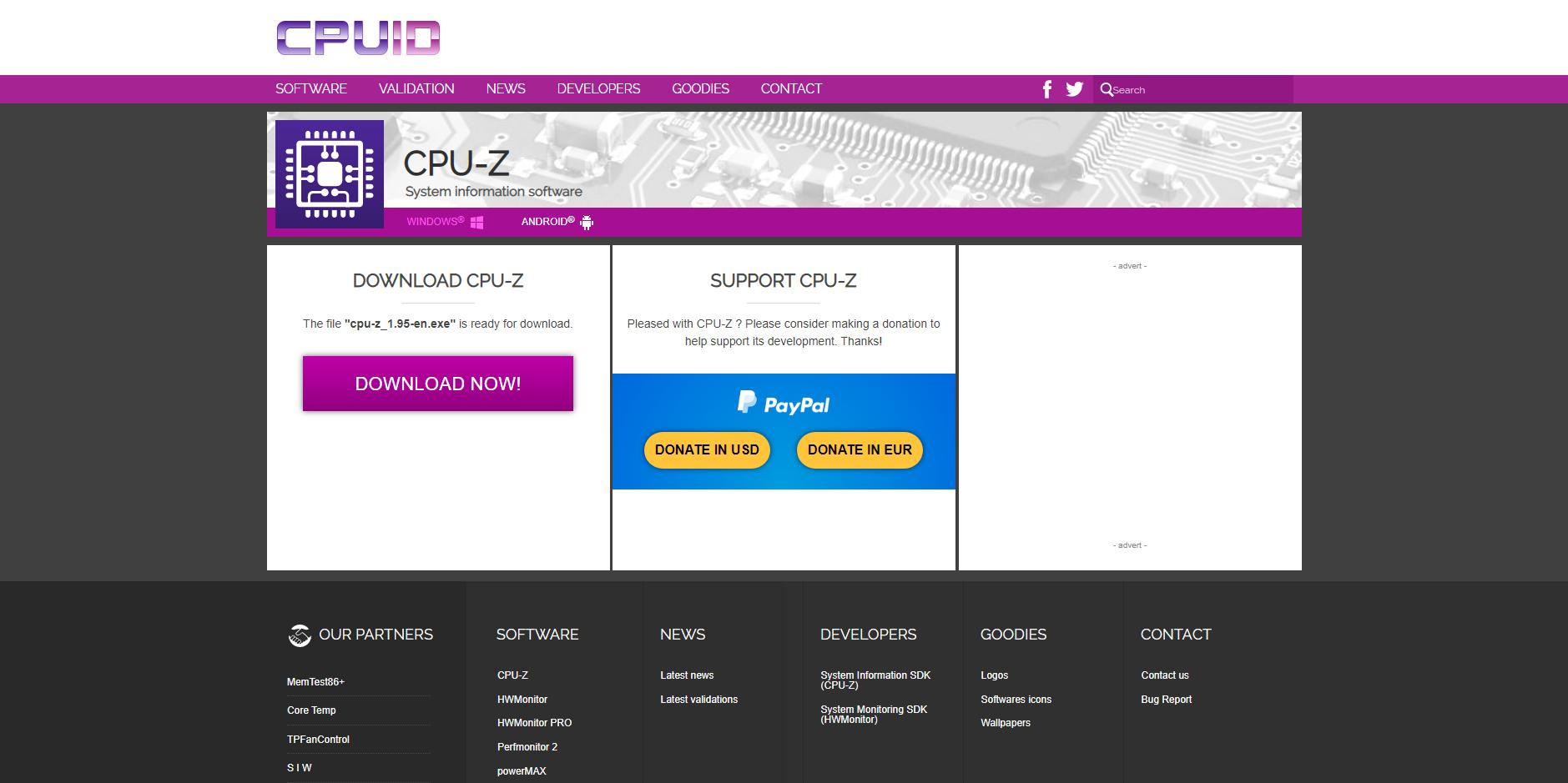 GEARVN.COM - Trang chủ tải CPU-Z, phần mềm kiểm tra cấu hình máy tính, laptop