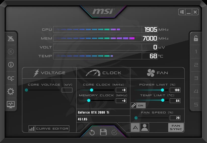 Phầm mềm quay màn hình tốt nhất hiện nay - MSI Afterburner