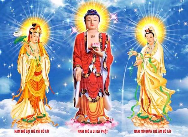 Phật A Di Đà và 2 vị bồ tát