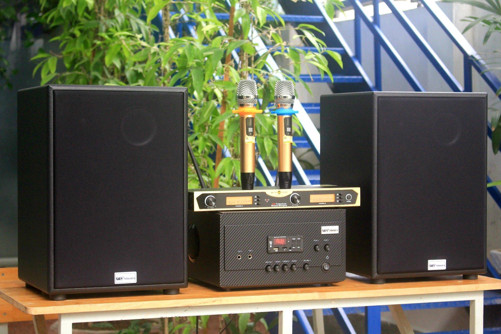 Loa karaoke Giảm 50% Dàn karaoke V230 ghép với amply 1200w + 01 cặp Micro không dây