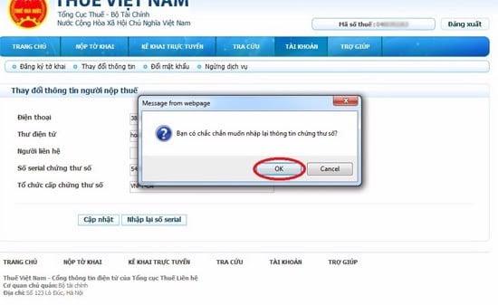 Hướng dẫn cách thay đổi số serial đối với  chữ ký số Viettel