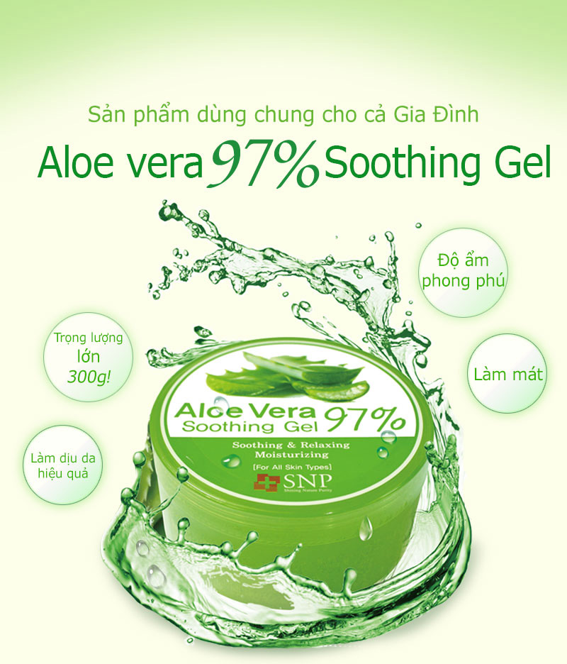 gel duong am tinh chat lo hoi snp aloe vera 97 soothing gel 300g 2