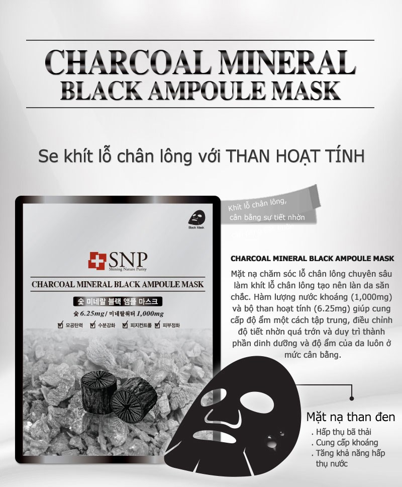 mat na duong tinh chat than hoat tinh snp charcoal mineral black ampoule mask des 1