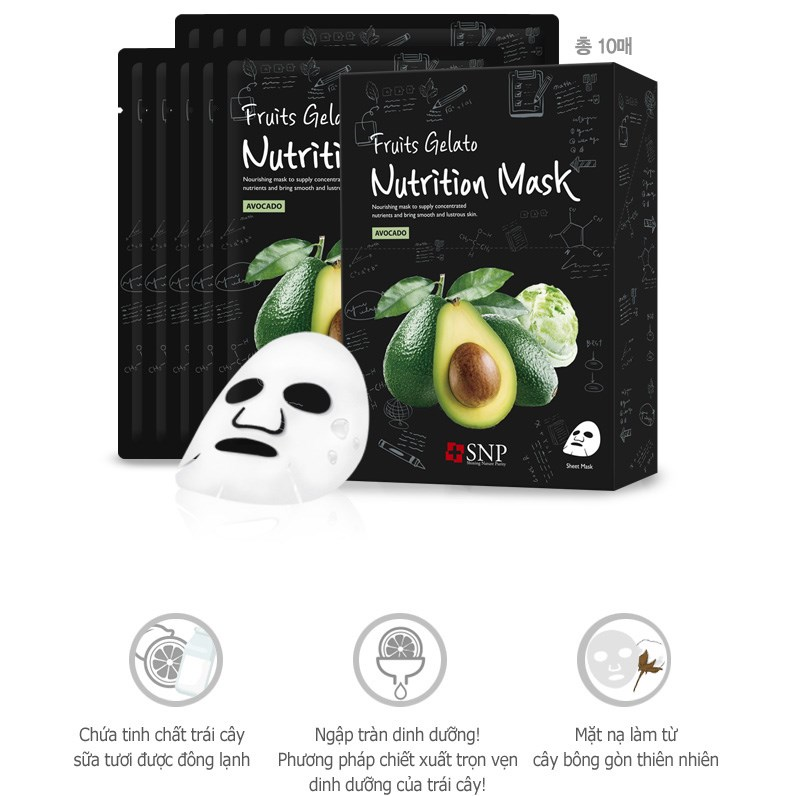 mat na tinh chat bo xay dong lanh snp fruits gelato nutrition mask 25ml des 2
