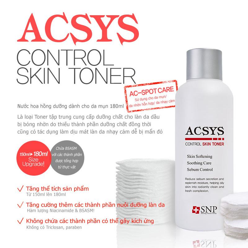 nuoc hoa hong danh cho da mun snp acsys control skin 180ml