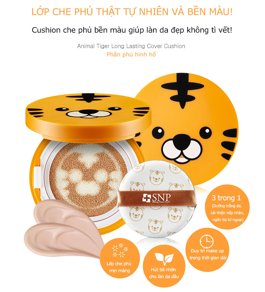 phan phu tong mau da snp animal tiger long lasting cover cushion des 2