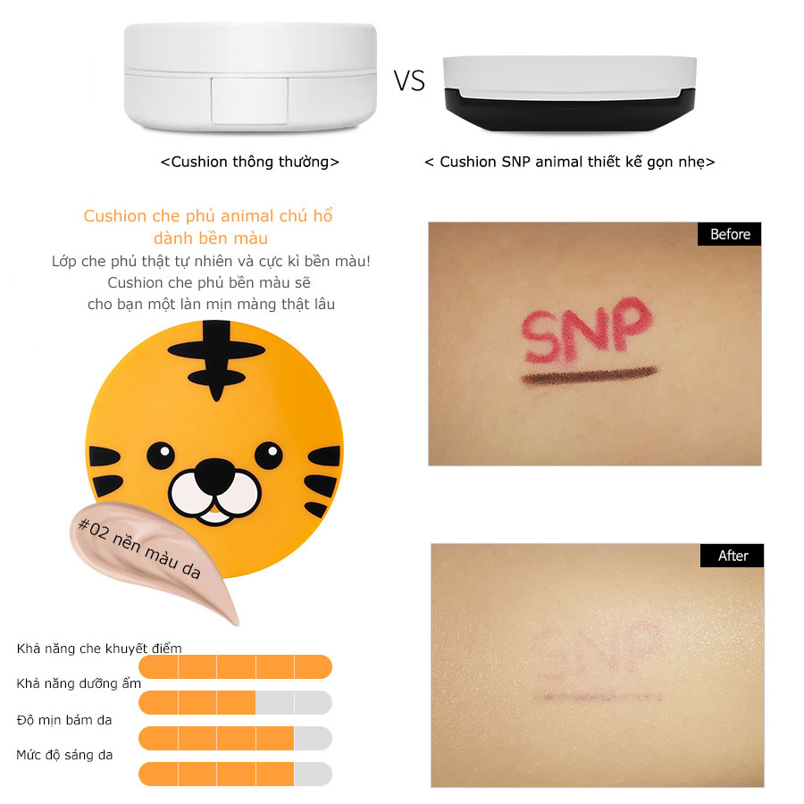 phan phu tong mau da snp animal tiger long lasting cover cushion des 5